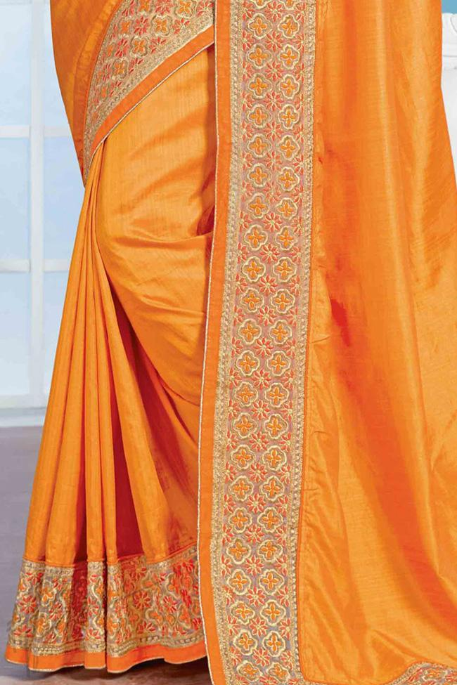 Indi Fashion Yellow Crepe Silk Party Wear Saree