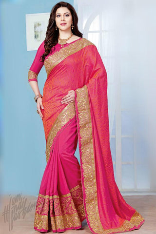 Indi Fashion Magenta Crepe Silk Party Wear Saree