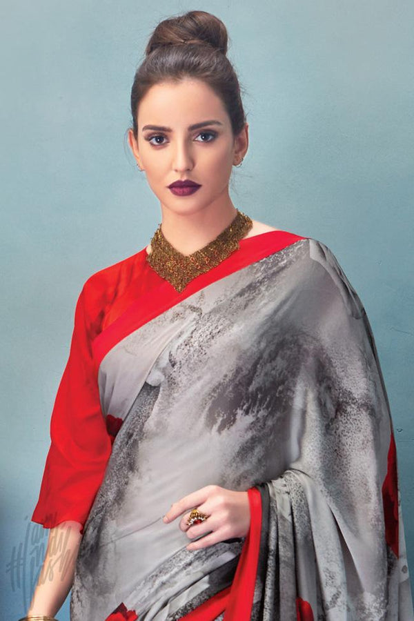 Indi Fashion Red and Gray Satin Saree with Rose Print Pattern