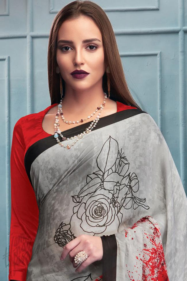 Indi Fashion Gray and Red Satin Saree with Rose Print Pattern