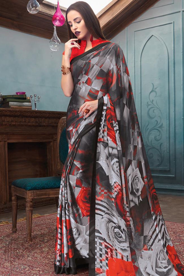 Indi Fashion Red Black and Gray Satin Saree with Abstract Rose Print Pattern
