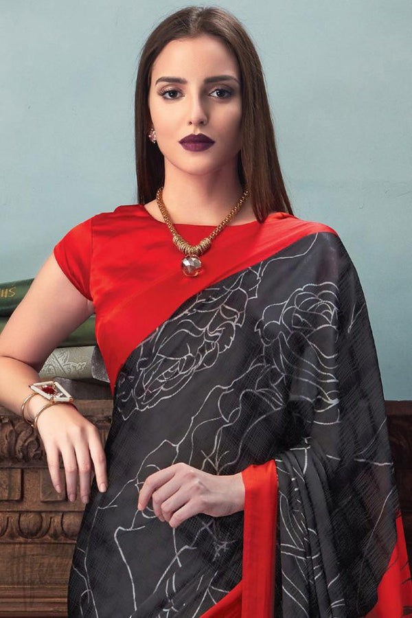 Indi Fashion Red and Black Satin Saree with Abstract Print Pattern