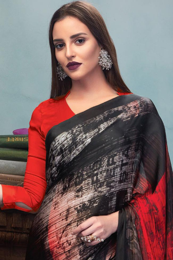 Indi Fashion Red and Black Satin Saree with Abstract Rose Print Pattern