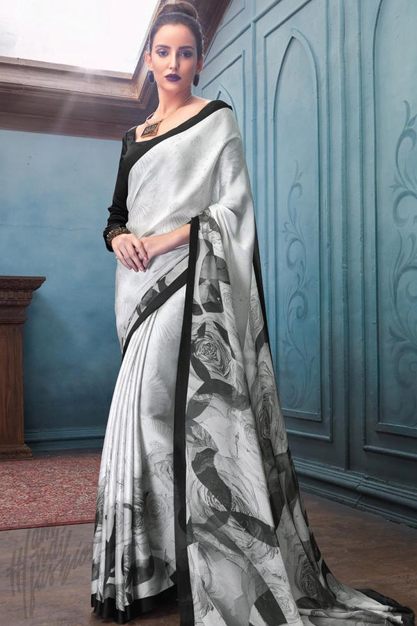 Indi Fashion Black and Silver Satin Saree with Abstract Rose Print Pattern