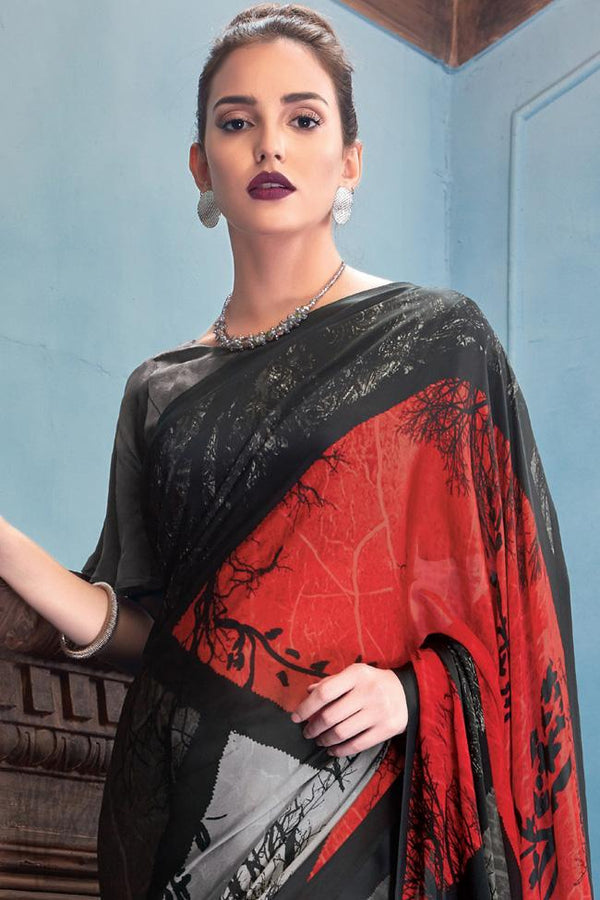 Indi Fashion Black Red and Gray Satin Saree with Abstract Print Pattern