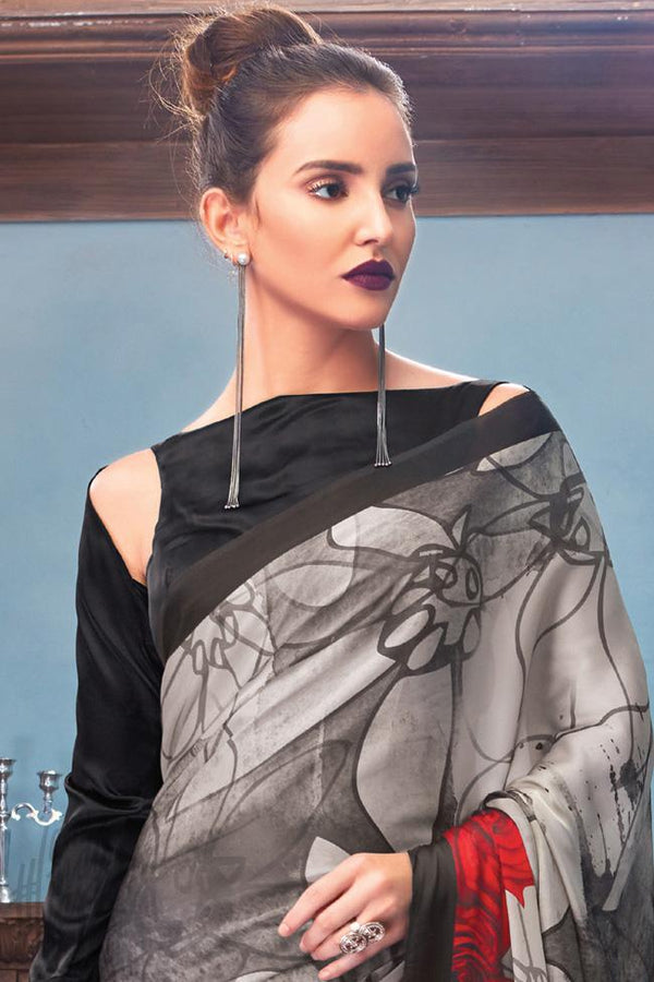 Indi Fashion Black Gray and Red Satin Saree with Abstract Rose Print Pattern