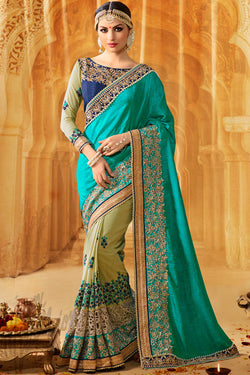Indi Fashion Tatva Green and Turquoise Blue Half and Half Art Silk Party Wear Saree