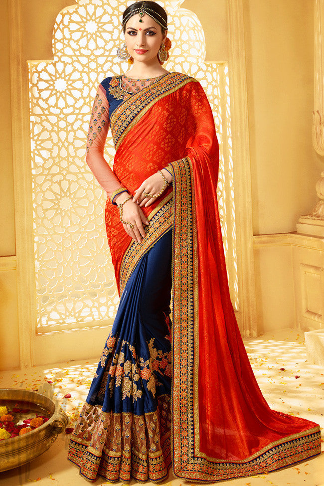 Indi Fashion Sharaddha Orange and Blue Half and Half Jacquard Silk Party Wear Saree