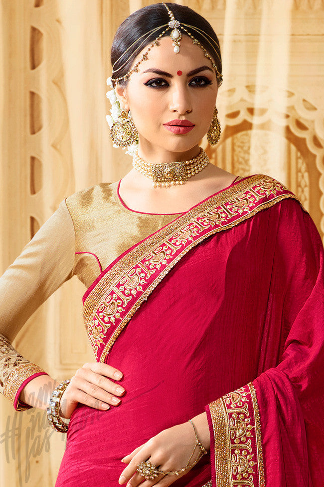 Indi Fashion Lavanya Beige and Red Half and Half Art Silk and Crepe Party Wear Saree