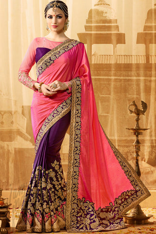 Buy Vidhya Purple and Pink Half and Half Art Silk Party Wear Saree Online at indi.fashion