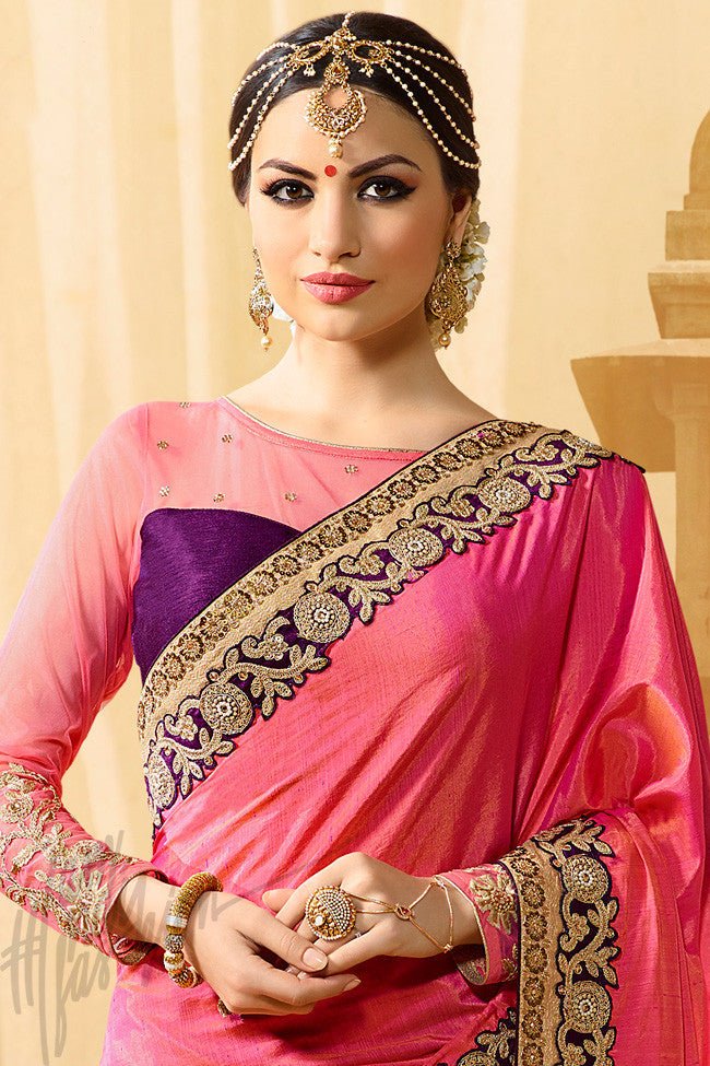Indi Fashion Vidhya Purple and Pink Half and Half Art Silk Party Wear Saree
