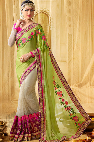 Buy Moksha Liril Green and Off White Half and Half Georgette Party Wear Saree Online at indi.fashion
