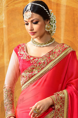 Buy Agni Peach and Pink Half and Half Crepe Silk Party Wear Saree Online at indi.fashion
