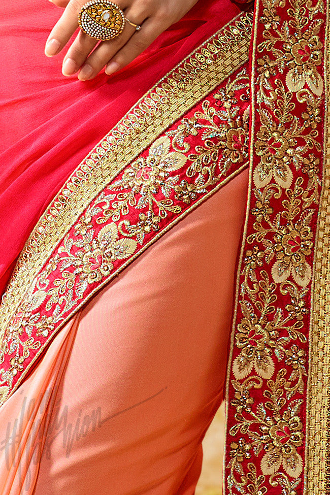 Indi Fashion Agni Peach and Pink Half and Half Crepe Silk Party Wear Saree