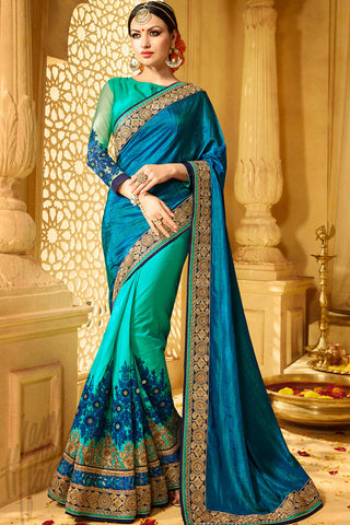 Buy Aastha Teal green and Blue Half and Half Art Silk Party Wear Saree Online at indi.fashion