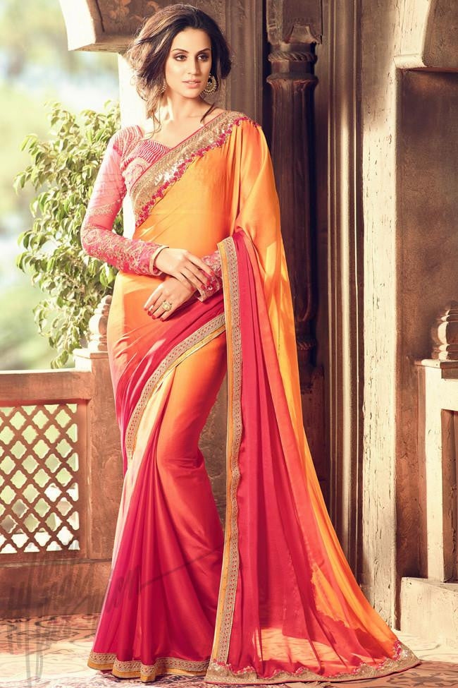 Indi Fashion Orange and Pink Ombre Silk Party Wear Saree