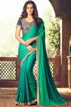 Indi Fashion Green and Navy Blue Georgette Party Wear Saree