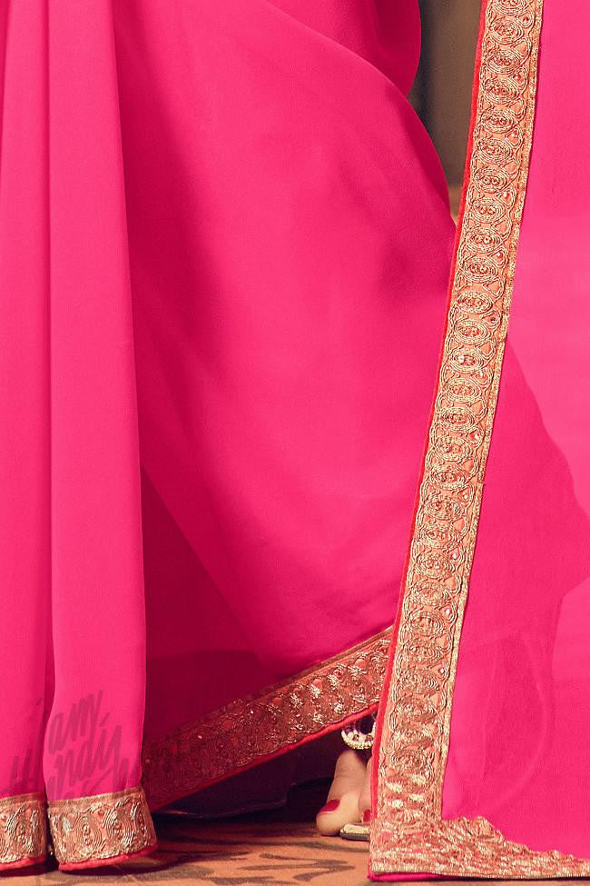 Indi Fashion Peach and Pink Ombre Silk Party Wear Saree