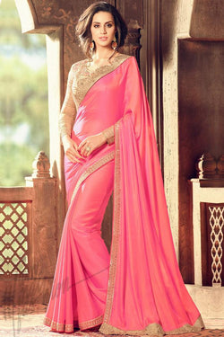 Indi Fashion Pink and Beige Silk Party Wear Saree