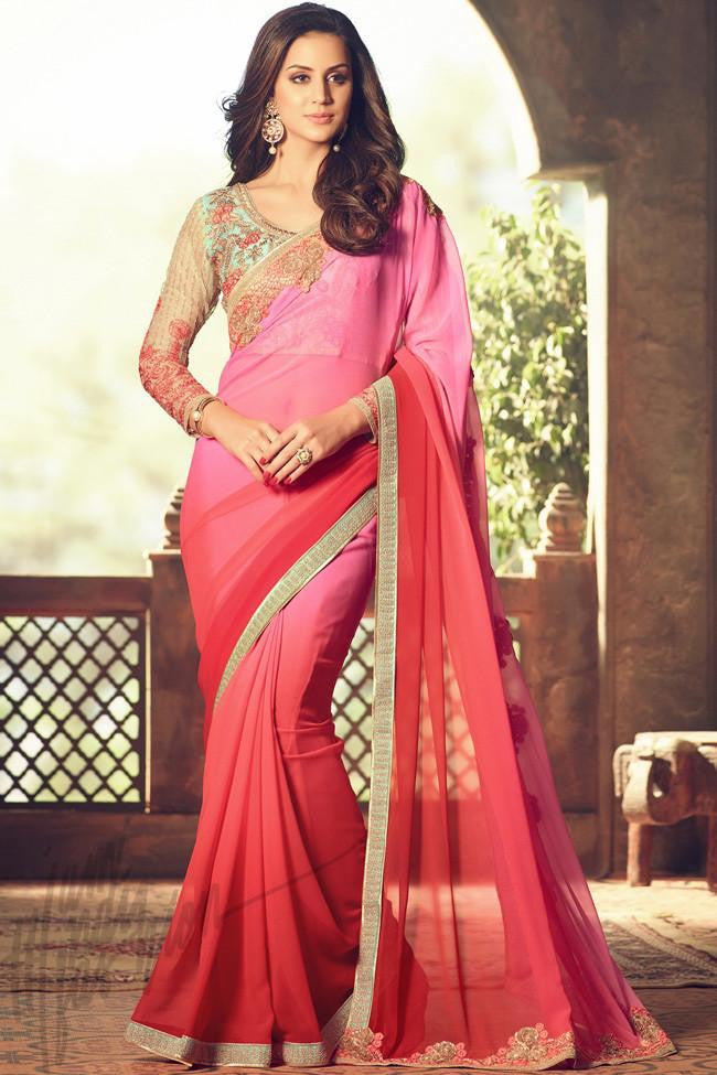 Indi Fashion Pink and Red Ombre Georgette Party Wear Saree