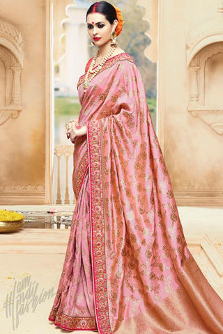 Buy Onion Pink Kanjivaram Silk Saree Online at indi.fashion