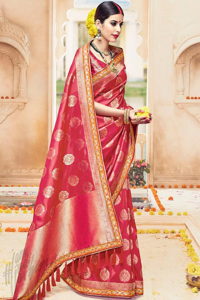 Buy Red Kanjivaram Silk Saree Online at indi.fashion