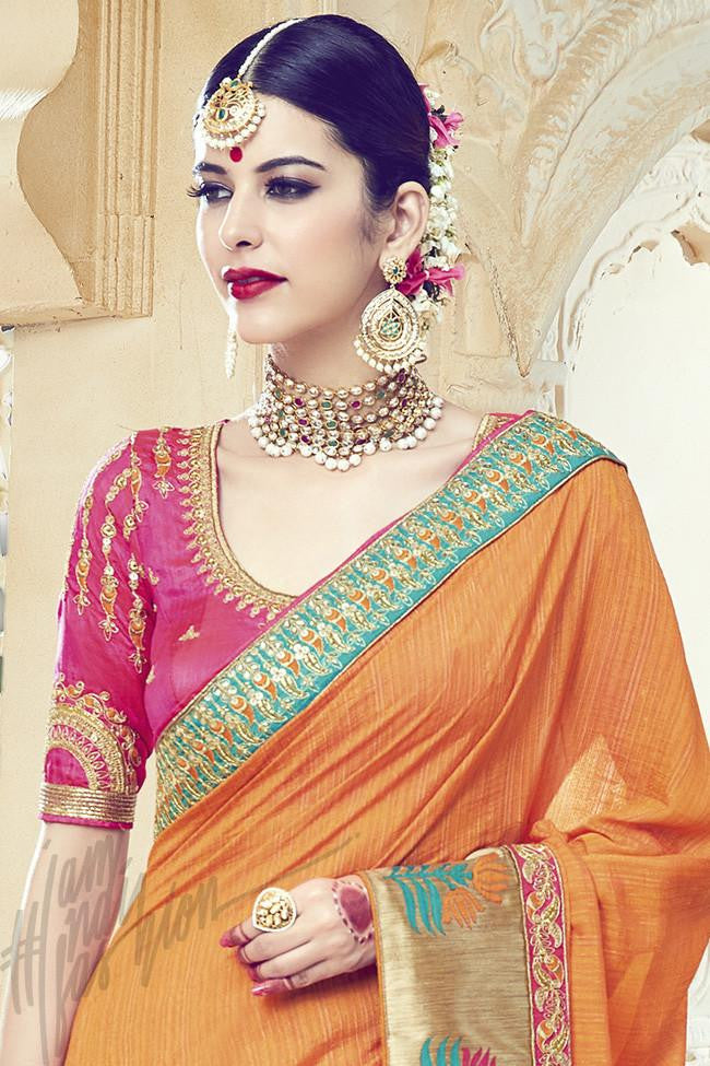 Indi Fashion Orange and Pink Art Silk party Wear Saree