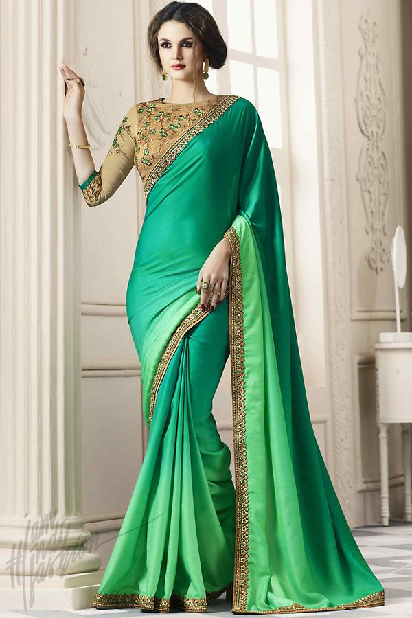 Indi Fashion Green Ombre and Beige Silk Party Wear Saree