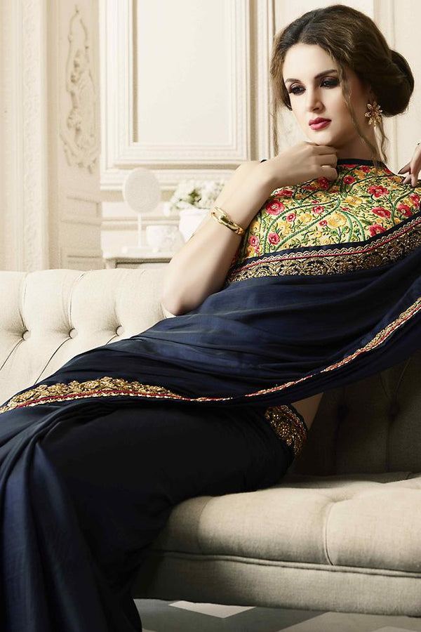 Indi Fashion Midnight Blue and Cream Silk Party Wear Saree