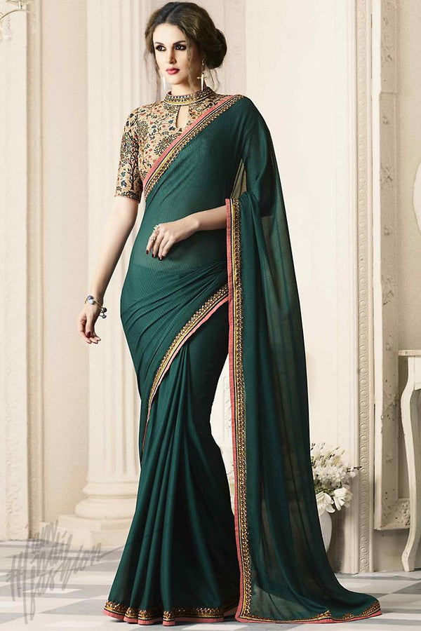 Indi Fashion Bottle Green and Beige Silk Party Wear Saree