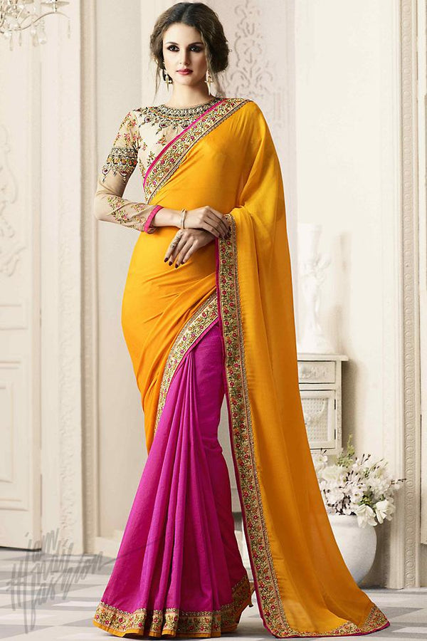 Indi Fashion Pink and Yellow Half and Half Silk Party Wear Saree
