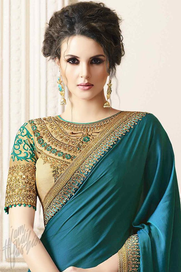 Indi Fashion Peacock Blue and Beige Silk Party Wear Saree