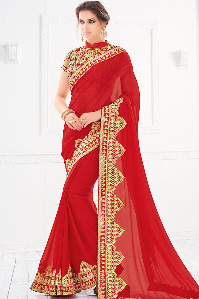 Buy Red and Gold Silk Party Wear Saree Online at indi.fashion