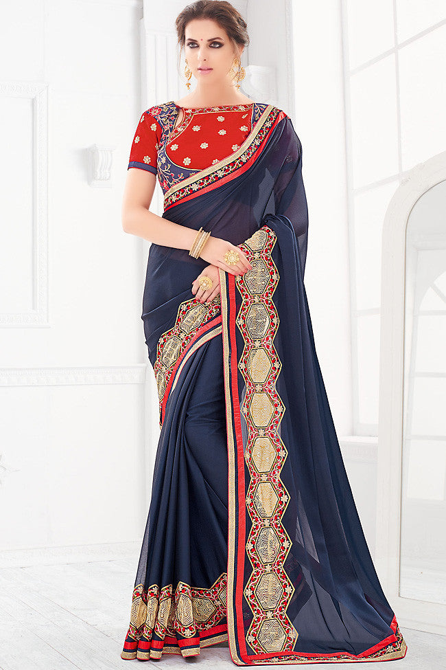 Indi Fashion Blue Red and Gold Silk Party Wear Saree