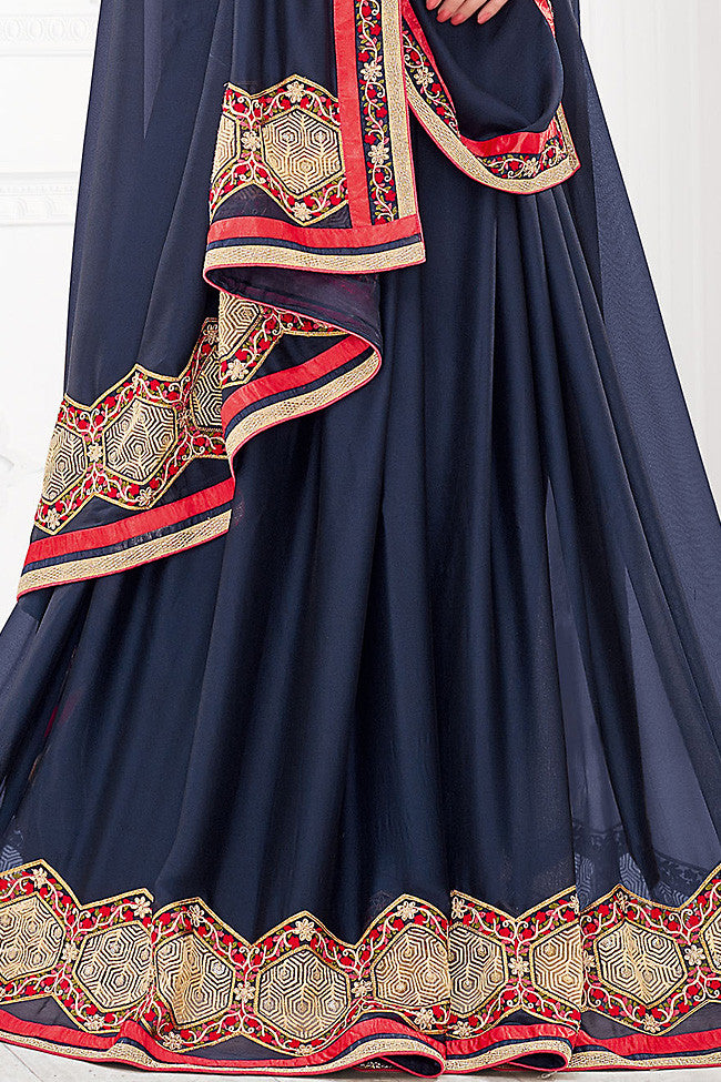 Buy Blue Red and Gold Silk Party Wear Saree Online at indi.fashion