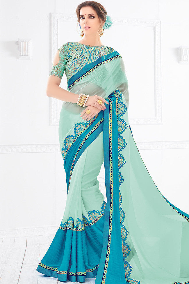 Buy Blue Silk Party Wear Saree Online at indi.fashion