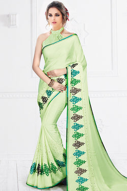 Indi Fashion Liril Green Silk Party Wear Saree