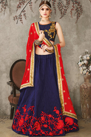 Indi Fashion Blue Red and Gold Pure Silk Wedding Lehenga Set