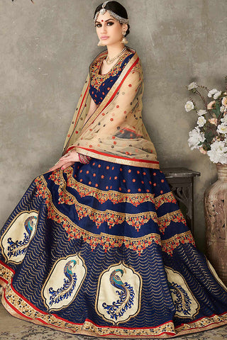 Indi Fashion Blue Beige and Gold Pure Silk Wedding Lehenga Set