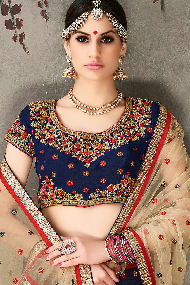 Buy Blue Beige and Gold Pure Silk Wedding Lehenga Set Online at indi.fashion