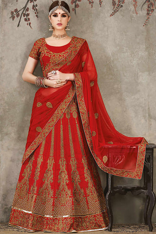 Indi Fashion Red and Gold Pure Silk Wedding Lehenga Set