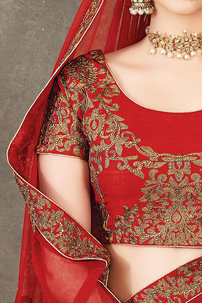 Buy Red and Gold Pure Silk Wedding Lehenga Set Online at indi.fashion