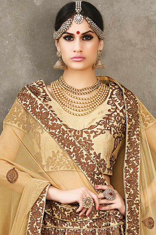Indi Fashion Cream Beige and Brown Pure Silk Wedding Lehenga Set