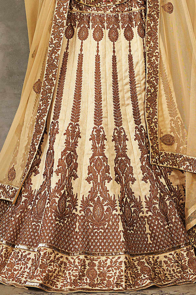 Buy Cream Beige and Brown Pure Silk Wedding Lehenga Set Online at indi.fashion