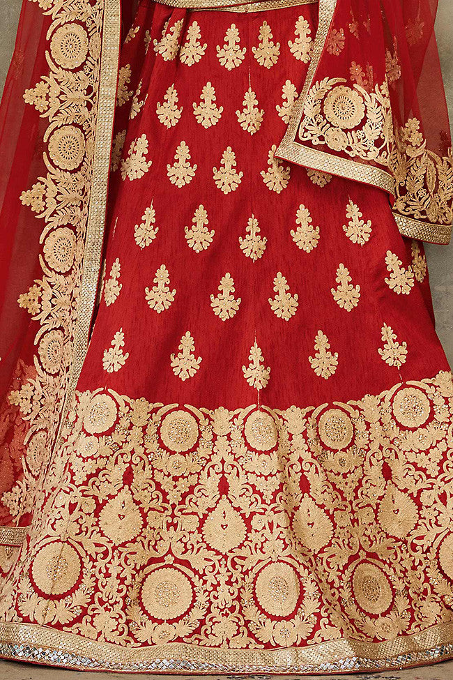 Indi Fashion Maroon and Gold Pure Silk Wedding Lehenga Set