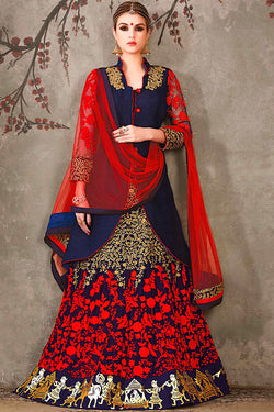 Indi Fashion Blue Red and Gold Jacket Style Pure Silk Wedding Lehenga Set
