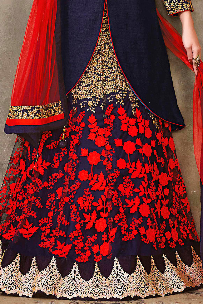 Buy Blue Red and Gold Jacket Style Pure Silk Wedding Lehenga Set Online at indi.fashion