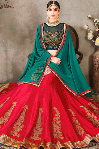 Indi Fashion Green Red and Gold Pure Silk Wedding Lehenga Set
