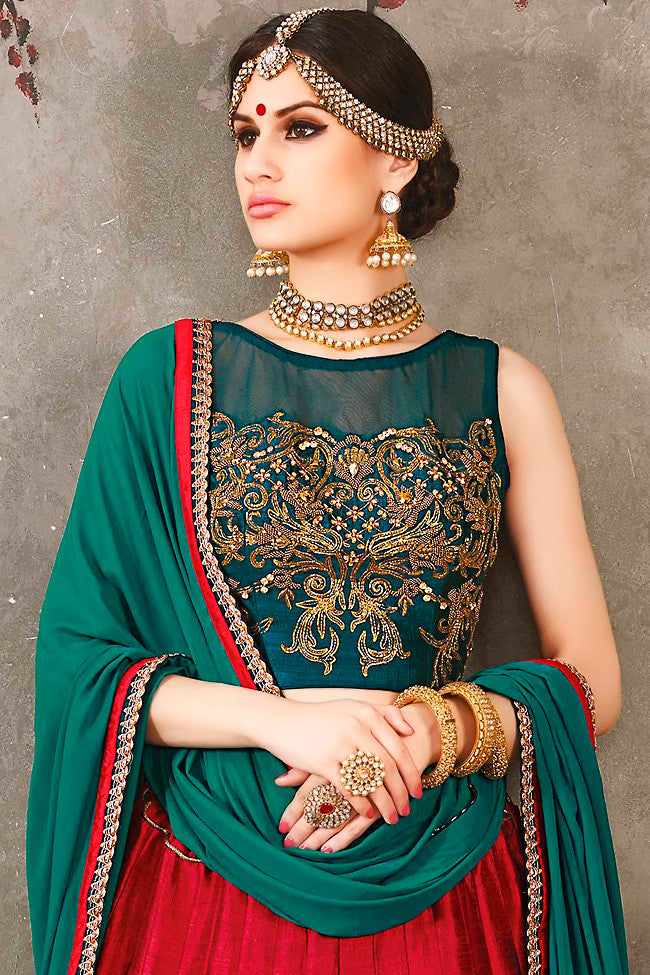 Buy Green Red and Gold Pure Silk Wedding Lehenga Set Online at indi.fashion