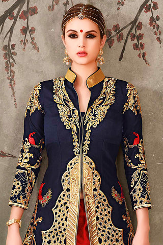 Indi Fashion Blue Red and Gold Long Jacket Style Pure Silk Wedding Lehenga Set